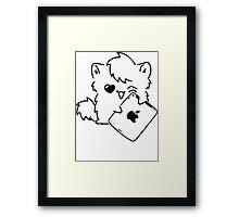 Kitty Loves iDevices! (shirt) Framed Print