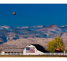 Hot Air Balloon With Flag Barn God Bless the USA  Photographic Print