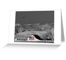 Hot Air Balloon With USA Flag Barn God Bless the USA BWSC Greeting Card