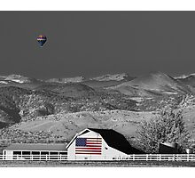 Hot Air Balloon With USA Flag Barn God Bless the USA BWSC Photographic Print