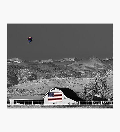 Hot Air Balloon With USA Flag Barn God Bless the USA BWSC Photographic Print