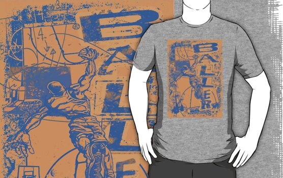 Baller Basketball Hoops Slam Dunk Blue Orange by MudgeStudios