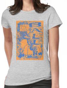 Baller Basketball Hoops Slam Dunk Blue Orange Womens Fitted T-Shirt