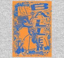 Baller Basketball Hoops Slam Dunk Blue Orange Unisex T-Shirt