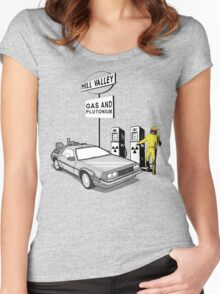 Back to the Future Delorean 'Hill Valley Gas Station' Women's Fitted Scoop T-Shirt