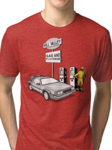 Back to the Future Delorean 'Hill Valley Gas Station' Tri-blend T-Shirt