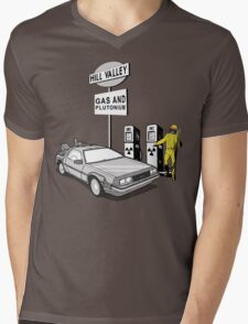 Back to the Future Delorean 'Hill Valley Gas Station' Mens V-Neck T-Shirt