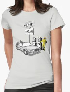 Back to the Future Delorean 'Hill Valley Gas Station' Womens Fitted T-Shirt