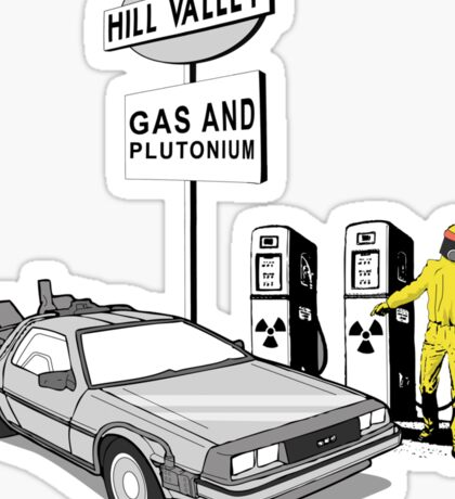 Back to the Future Delorean 'Hill Valley Gas Station' Sticker