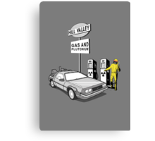 Back to the Future Delorean 'Hill Valley Gas Station' Canvas Print
