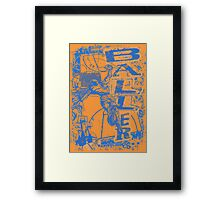 Slam Dunk Baller Blue and Orange Framed Print