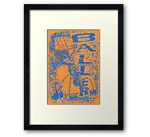 Slam Dunk Baller Blue and Orange Framed Print