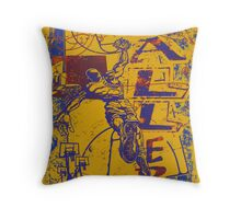 Slam Dunk Baller Yellow and Purple Throw Pillow