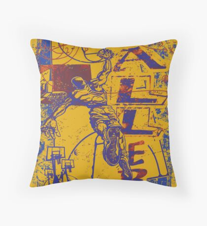Slam Dunk Baller Yellow and Purple Throw Pillow