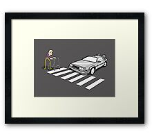 Back to the Future Delorean Old Man Zimmer Frame  Framed Print