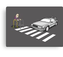Back to the Future Delorean Old Man Zimmer Frame  Canvas Print
