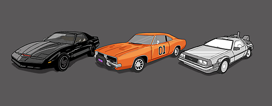 Retro Auto Heros Dukes of Hazzard Knight Rider  by Creative Spectator