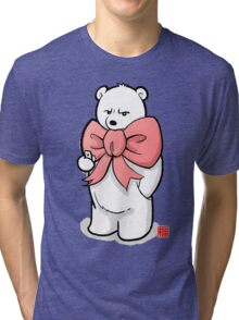 Polar Bear In Pink Ribbon Tri-blend T-Shirt