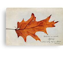 this autumn leaf Canvas Print