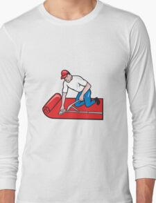 Carpet Layer Fitter Worker Cartoon Long Sleeve T-Shirt