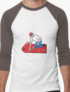 Carpet Layer Fitter Worker Cartoon Men's Baseball ¾ T-Shirt