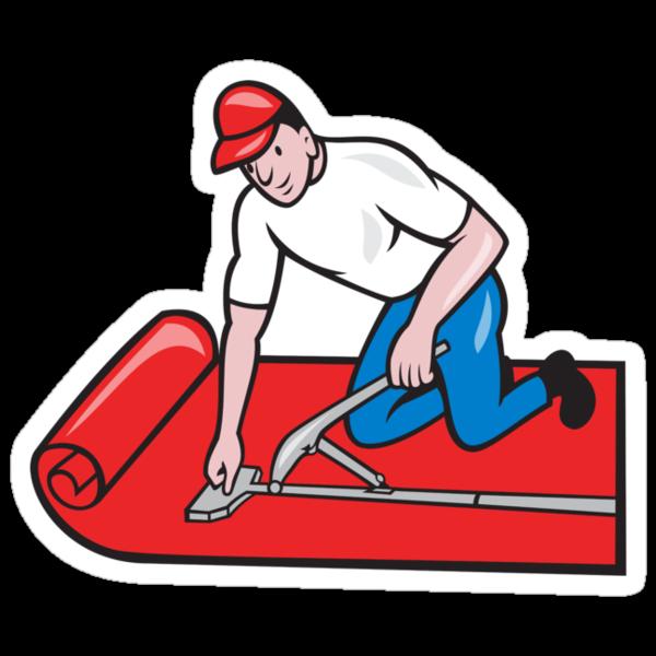 Carpet Layer Fitter Worker Cartoon by patrimonio