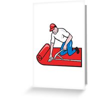 Carpet Layer Fitter Worker Cartoon Greeting Card