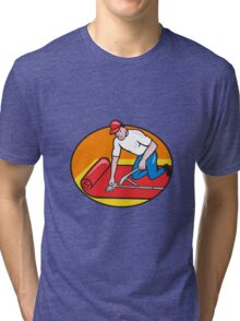 Carpet Layer Fitter Worker Cartoon Tri-blend T-Shirt