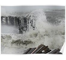 The end of the dock - Hurricane Sandy Poster