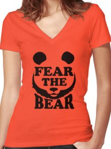 Fear the Bear- SF Giants  Women's Fitted V-Neck T-Shirt