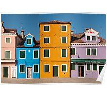 Colourful House Facades, Burano, Venice Poster