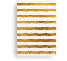 Gold Foil Stripes Pattern Canvas Print