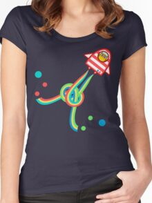 Owl in space Women's Fitted Scoop T-Shirt