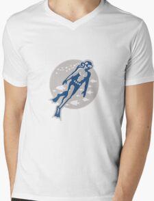 Scuba Diver Diving Retro Mens V-Neck T-Shirt