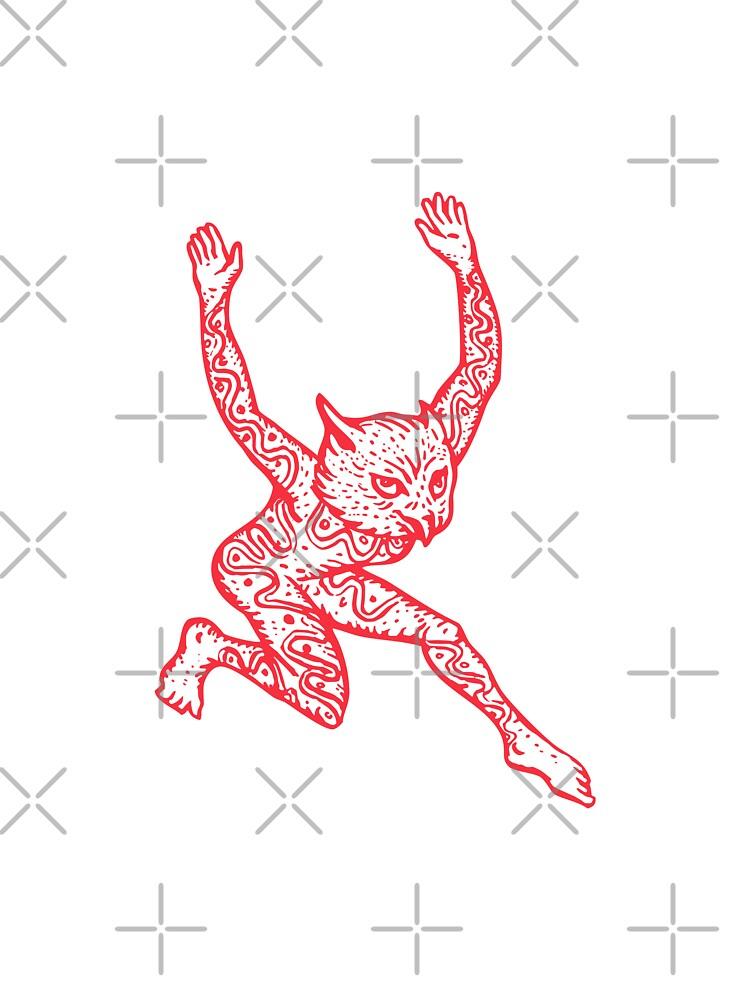 Half Man Half Owl With Tattoos Dancing by patrimonio