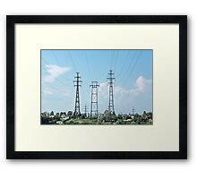 electricity pylon power line Framed Print
