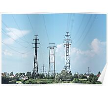 electricity pylon power line Poster
