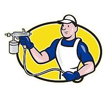 Spray Painter Spraying Gun Cartoon  by patrimonio