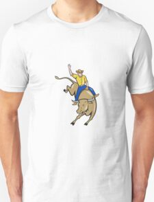 Rodeo Cowboy Bull Riding Cartoon Unisex T-Shirt