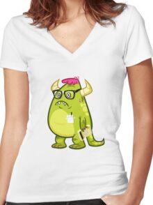 Monster Nerd Women's Fitted V-Neck T-Shirt
