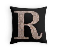 Letter R Metallic Look Stripes Silver Gold Copper Throw Pillow