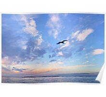 Dusk over Northumberland coast England Poster