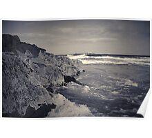 waves crashing against rocks Poster