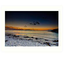 Camusdarach beach as the sun sets Art Print