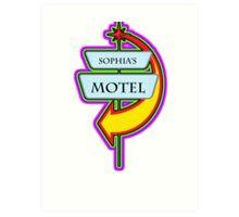 Sophia's Motel campy truck stop tee  Art Print