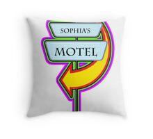 Sophia's Motel campy truck stop tee  Throw Pillow