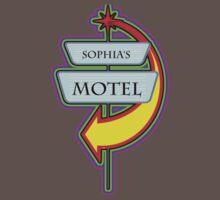 Sophia's Motel campy truck stop tee  by Tia Knight