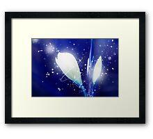 Digital Art Sparkling Flowers - Blue Framed Print