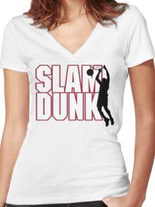 Basketball Slam Dunk Women's Fitted V-Neck T-Shirt