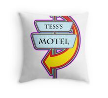 Tess's Motel campy truck stop tee  Throw Pillow